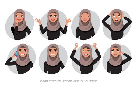 Illustrazione per Arab women character is happy and smiling. Cartoon style women with hijab. Emotion of joy and glee on the women face. The women portrait. - Immagini Royalty Free