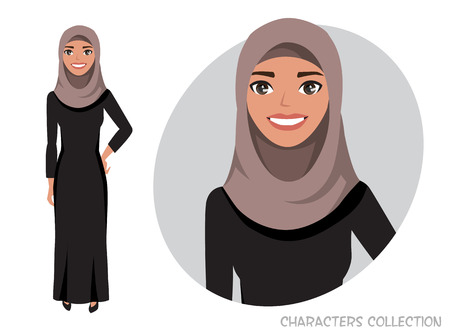 Illustrazione per Arab women character is happy and smiling. - Immagini Royalty Free
