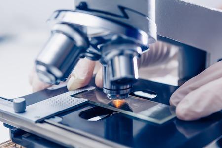 Foto de Scientist hands with microscope close-up shot in the laboratory - Imagen libre de derechos