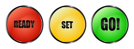 Illustration for Red, yellow and green buttons ready - set - go! - Royalty Free Image