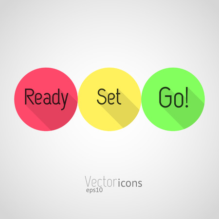 Illustration pour Countdown - Ready, Set, Go! Colorful vector icons. Flat style design with long shadows. - image libre de droit