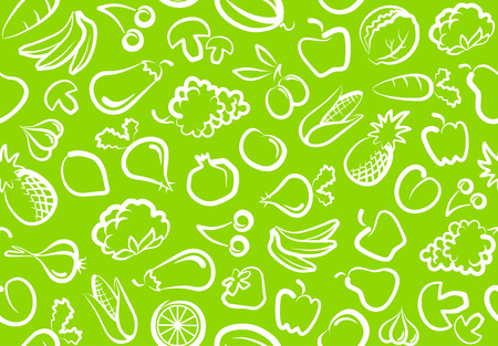 Seamless background with vegetables and fruit