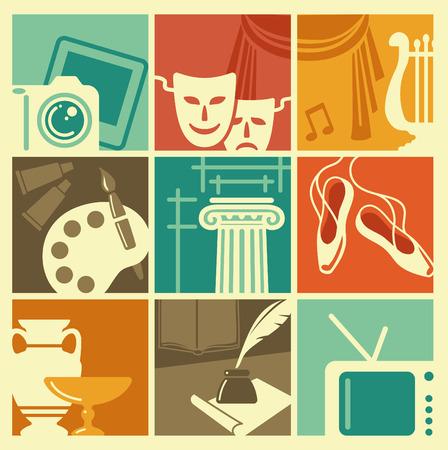 Illustration pour Vintage symbols of various arts - image libre de droit