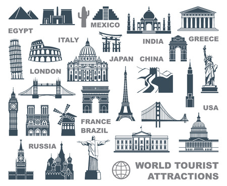 Illustration pour Icons world tourist attractions - image libre de droit