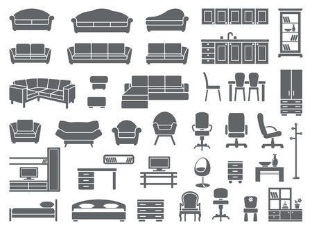 Illustration pour furniture icon set - image libre de droit