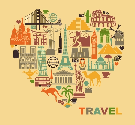 Illustration for Icon architectural monuments of the world in the shape of a heart - Royalty Free Image