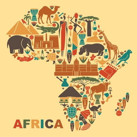 Illustration pour Symbols of nature, culture and architecture of Africa in the form of a map - image libre de droit