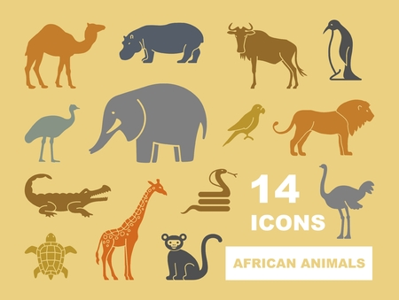 African animals stylized vector silhouettes. Flat icons