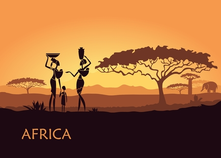 Illustration for African landscape with local women and child - Royalty Free Image