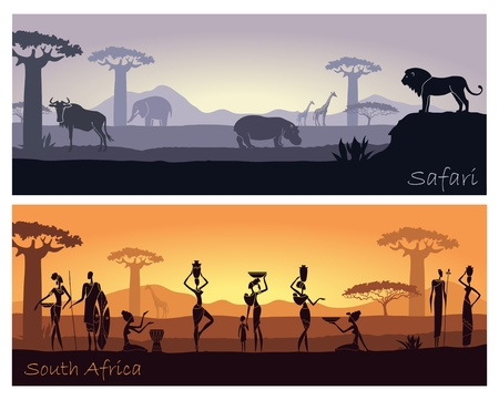 Illustration for African landscape with people and animals - Royalty Free Image