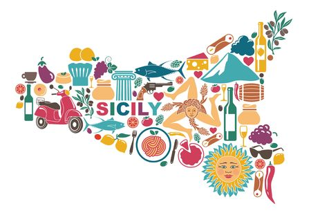 Illustration for Stylized map of Sicily with traditional symbols - Royalty Free Image