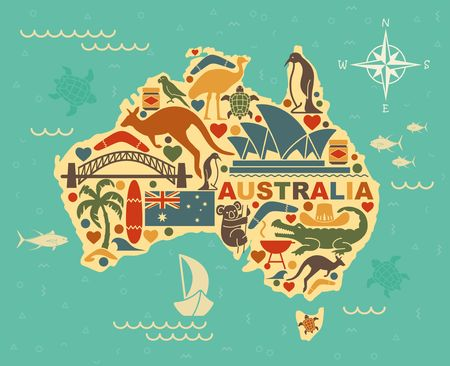 Illustration for Traditional symbols of Australian culture and nature in the form of maps - Royalty Free Image