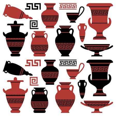 Illustration for Amphoras with an antique Greek ornament - Royalty Free Image