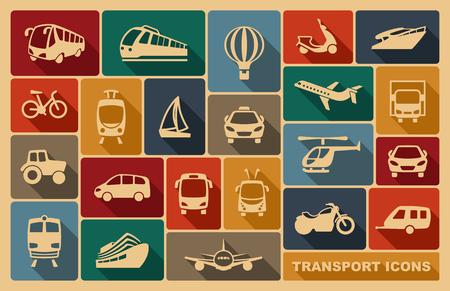 Illustration pour Icons of various means of transportation - image libre de droit