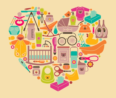 Illustration pour Icons of products for babies in the form of a heart. Clothes, food, cosmetics and equipment for newborn care - image libre de droit