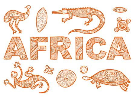 Illustration pour The inscription of AFRICA in ethnic style and outline of African animals - image libre de droit