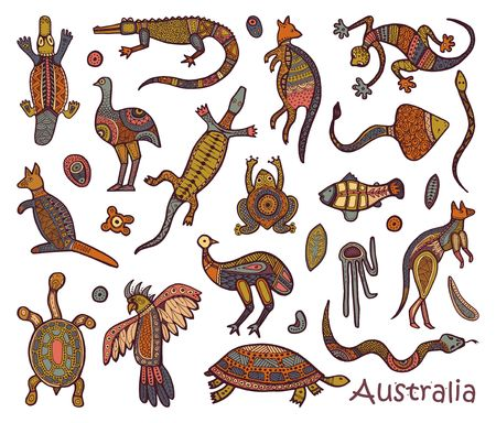 Illustration for Animals Of Australia. Sketches in the style of Australian aborigines - Royalty Free Image