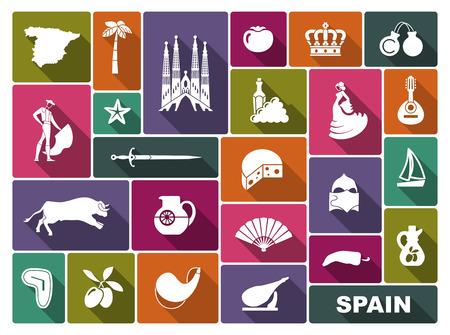 Ilustración de Traditional symbols of culture and sights of Spain - Imagen libre de derechos