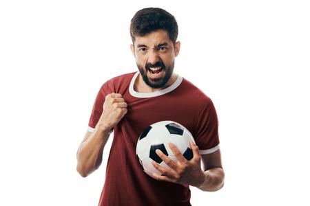 Foto de Fan or sport player on red uniform celebrating on white background - Imagen libre de derechos