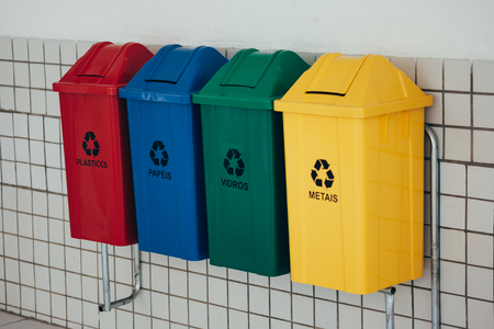 Photo for Selective collection of garbage with inscriptions in Portuguese - Royalty Free Image