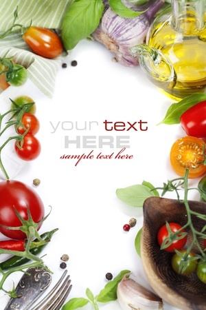 Foto für Several varieties of tomatoes and spices over white (with sample text) - Lizenzfreies Bild