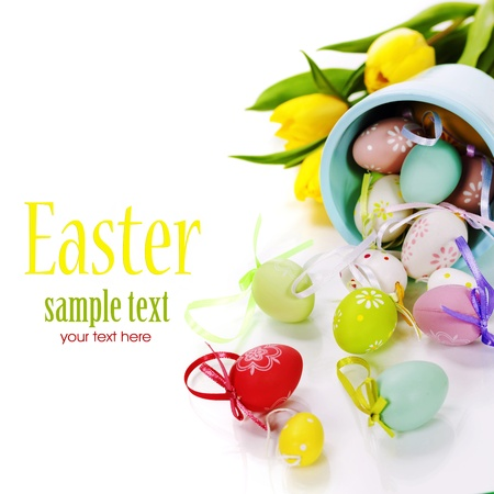 easter composition with fresh tulips and easter eggs over white (with easy removable text)