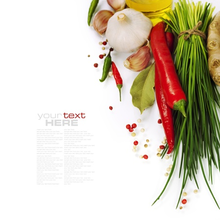 A bunch of fresh chives and vegetables over white (with easy removable text)
