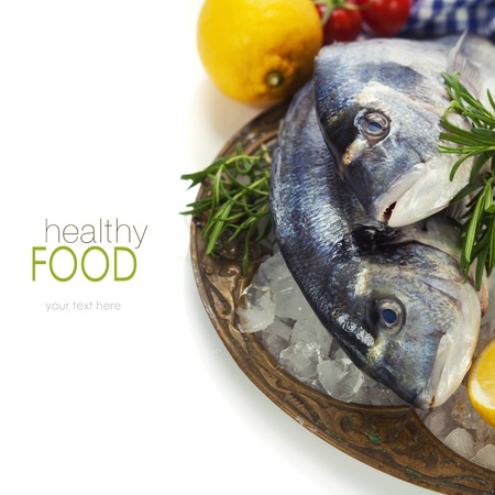 fresh seafood and vegetables on ice - food and drink (with easy removable sample text)