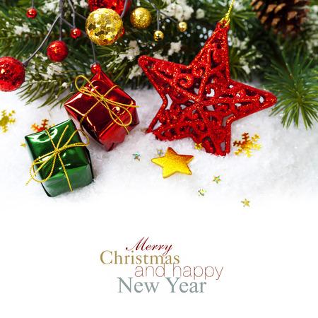 Foto de Bright christmas composition with red star - Imagen libre de derechos
