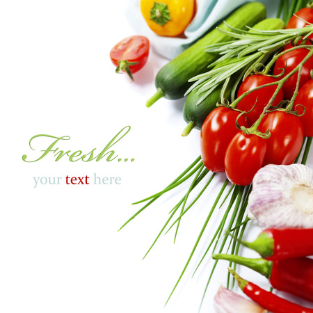 Photo for fresh vegetables on white background (with easy removable sample text) - Royalty Free Image