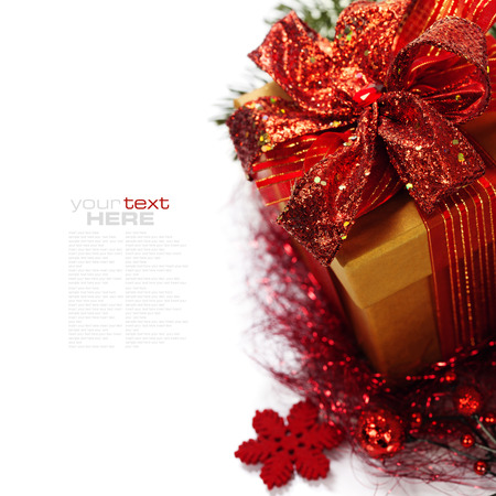 Photo pour Christmas composition with gift box and decorations (with easy removable sample text)  - image libre de droit