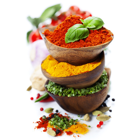 Photo for Spices and herbs over White. Food and cuisine ingredients. - Royalty Free Image