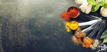 Photo pour Herbs and spices selection, close up - image libre de droit