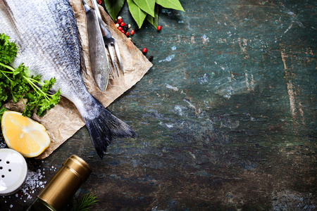 Photo for Food background with Fish and Wine. Lots of copy space - Royalty Free Image