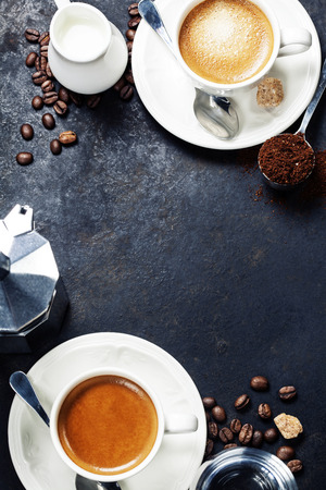 Photo for Coffee composition on dark rustic background. Coffee frame - Royalty Free Image