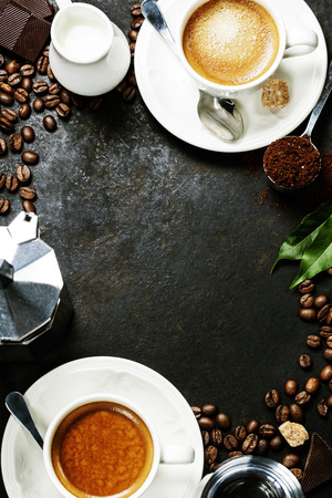 Foto für Coffee composition on dark rustic background. Coffee frame - Lizenzfreies Bild