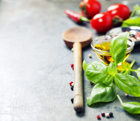 Photo for Wooden spoon and ingredients on old background. Vegetarian food, health or cooking concept. - Royalty Free Image