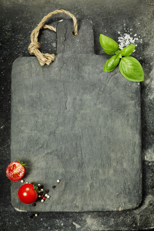 Photo pour vintage cutting board and fresh ingredients - Cooking, Healthy Eating or Vegetarian concept - image libre de droit