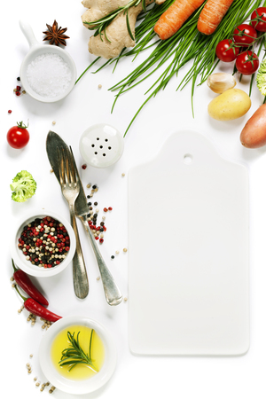 Organic food background - fresh vegetables and spices