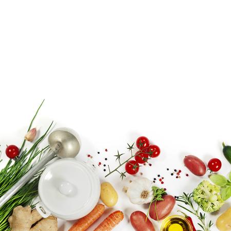 Photo pour Ingredients for soup.Top view.  Bio Healthy food. Organic vegetables. - image libre de droit
