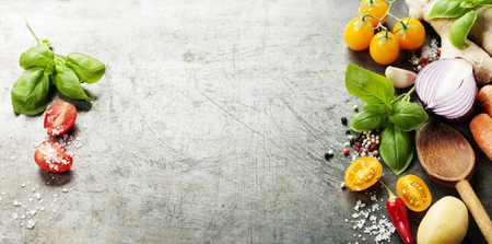 Photo pour Wooden spoon and ingredients on old background. Vegetarian food, health or cooking concept.  Background layout with free text space. - image libre de droit