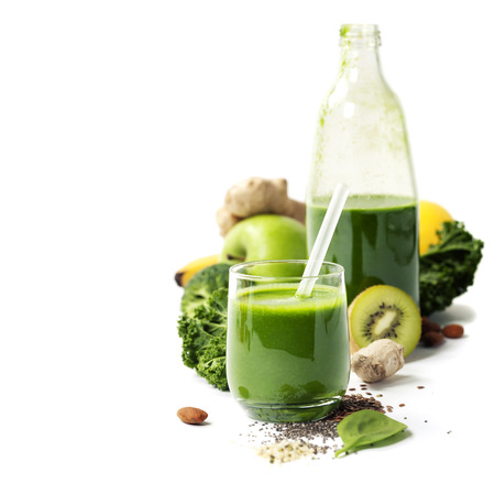 Photo for Healthy green smoothie and ingredients on white  - superfoods, detox, diet, health, vegetarian food concept - Royalty Free Image