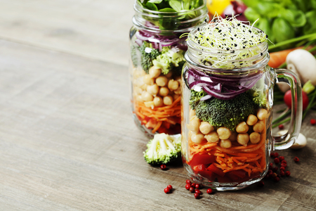 Photo for Healthy Homemade Mason Jar Salad with Chickpea and Veggies - Healthy food, Diet, Detox, Clean Eating or Vegetarian concept - Royalty Free Image