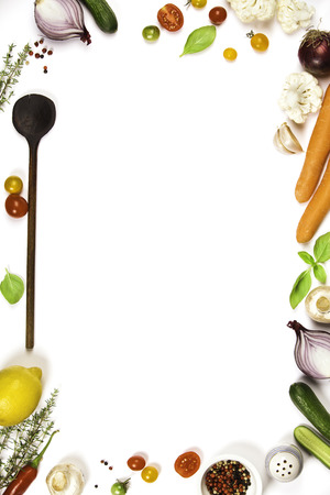 Photo for Colorful food ingredients on white background. Bio Healthy food herbs and spices for health cooking. Organic cooking ingredients over white. Diet or vegetarian food concept. Top view copy space. - Royalty Free Image