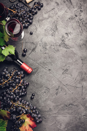Photo for Wine composition on dark rustic background - Royalty Free Image