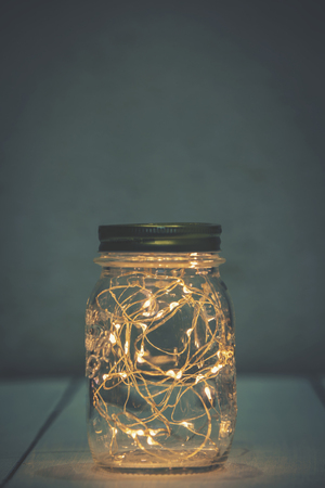 Photo for Christmas fairy lights in a mason jar - Royalty Free Image