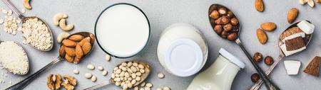 Foto de Vegan milk and ingredients on grey concrete - Imagen libre de derechos
