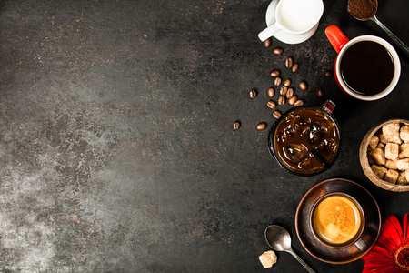 Foto de Border of various coffee, flat lay, top view - Imagen libre de derechos