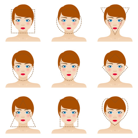 Ilustración de Different woman's face shapes set. Nine icons. Girls with blue eyes, red lips and brown hairs. Colorful vector illustration. - Imagen libre de derechos