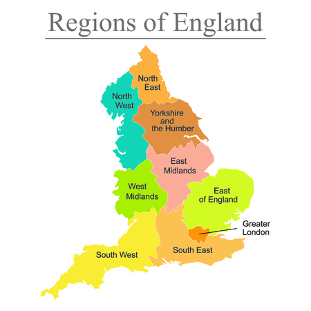 Illustration pour Colorful map of England with outline on white background. - image libre de droit